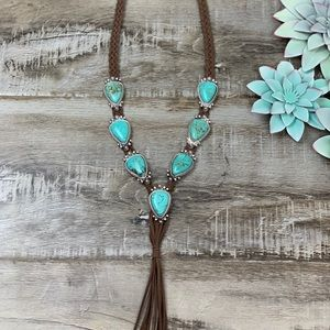 Jewelry - Tried & True Turquoise Suede Tassel Necklace